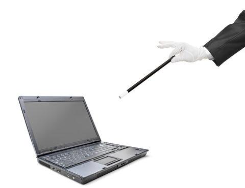 Magic wand and laptop